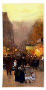 Porte St Martin At Christmas Time In Paris Beach Towel