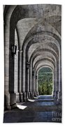 Portico From The Valley Of The Fallen Beach Towel by Mary Machare