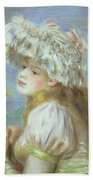 Portrait Of A Young Woman In A Lace Hat Beach Towel by Pierre Auguste  Renoir