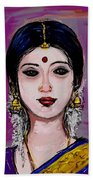 Portrait Of An Indian Woman Beach Towel