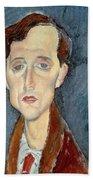 Portrait Of Franz Hellens Beach Towel by Modigliani