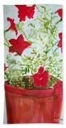 Pot Of Flowers Two Beach Towel