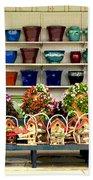 Pots And Birdhouses Beach Towel