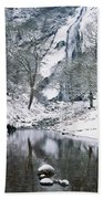 Powerscourt Waterfall In Winter, County Beach Towel