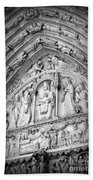 Prayers At Notre Dame - Black And White Beach Towel