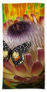 Protea With Speckled Butterfly Beach Towel
