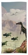 Protoceratops Stampede In Fear Beach Towel
