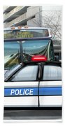 Proud Police Car In The City  Beach Towel