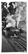 Puffing Billy Black And White Beach Towel