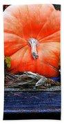 Pumpkin And Flowers Beach Towel