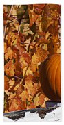 Pumpkin On White Fence Post Beach Towel