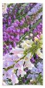 Purple And White Foxglove Square Beach Towel