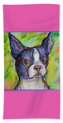Purple Boston Terrier Beach Towel