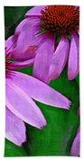 Purple Coneflower Trio Beach Towel