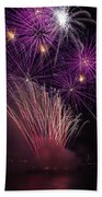 Purple Fireworks Beach Towel