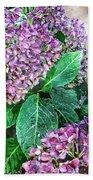 Purple Hydrangeas Beach Towel