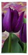 Purple Tulips Beach Sheet
