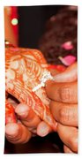 Putting The Gold And Diamond Engagement Ring On The Finger Of The Lady Beach Towel