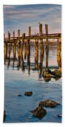 Pylons In Humboldt Bay Beach Towel