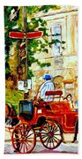 Quebec City Street Scene The Red Caleche Beach Towel