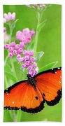 Queen Butterfly Wings With Pink Flowers Beach Sheet