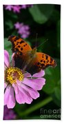 Question Mark Butterfly And Zinnia Flower Beach Towel