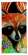 Raccoon And Butterfly Beach Towel