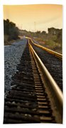 Railroad Tracks At Sundown Beach Towel