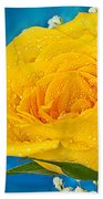 Rain On A Yellow Rose Beach Towel