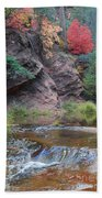 Rainbow Of The Season And River Over Rocks Beach Towel by Heather Kirk