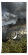 Rainbow Over The Valley Beach Towel