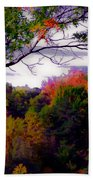 Rainbow Treetops Beach Towel by DigiArt Diaries by Vicky B Fuller