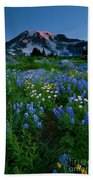 Rainier Wildflower Dawn Beach Towel by Mike  Dawson