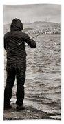 Rainy Day Fishing Beach Towel