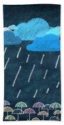 Rainy Day With Umbrella Beach Towel by Setsiri Silapasuwanchai