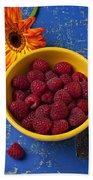 Raspberries In Yellow Bowl Beach Towel
