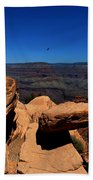 Raven Flying Near Ooh Aah Point Beach Towel