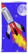 Really Cool Rocket In Space Beach Sheet
