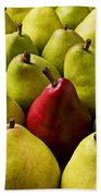 Red And Green Pears  Beach Towel