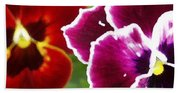 Red And Magenta Pansies Beach Towel