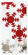 Red And Silver Snowflakes Beach Towel