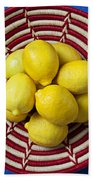 Red And White Basket Full Of Lemons Beach Towel by Garry Gay