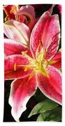 Red And White Tiger Lily Beach Towel