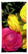 Red And Yellow Ranunculus Flowers Beach Towel