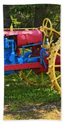 Red And Yellow Tractor Beach Towel