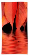 Red Autumn Leaves In Water Beach Towel