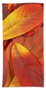 Red Autumn Leaves Pile Beach Towel