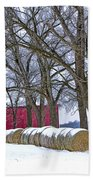 Red Barn In Winter With Hay Bales Beach Towel
