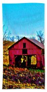 Red Barn On A Hillside Beach Towel