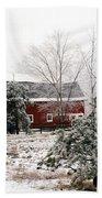 Michigan Red Barn Winter Scene Snow Landscape Beach Towel